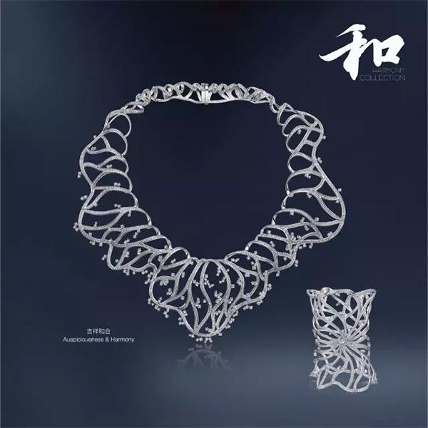 吉祥和合钻石项链、钻石手镯
