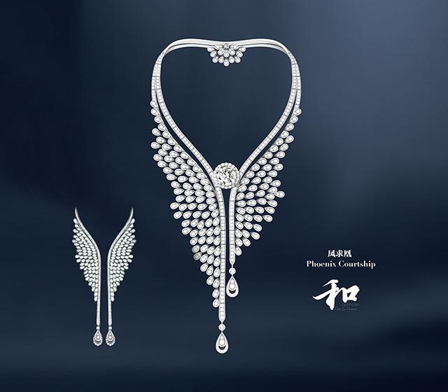 《凤求凰》钻石项链耳饰